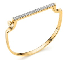 Gold Vermeil Signature Thin Bangle - Diamond