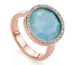 Rose Gold Vermeil Naida Circle Ring - Larimar and Diamond