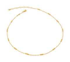 Gold Vermeil Triple Beaded Choker Necklace 14-16