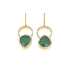 Gold Vermeil Naida Kiss Cocktail Earrings - Green Aventurine and Diamonds