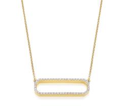 Gold Vermeil Naida Rectangle Open Necklace - Diamond