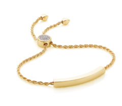 Gold Vermeil Linear Pave Toggle Chain Bracelet - Diamond