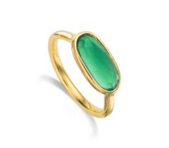 Gold Vermeil Vega Ring -Green Onyx
