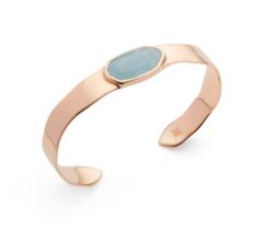 Rose Gold Vermeil Capri Thin Cuff - Aquamarine