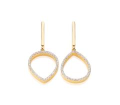 Gold Vermeil Naida Lotus Open Drop Earrings - Diamond