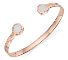Rose Gold Vermeil Atlantis Thin Cuff - White Chalcedony 1