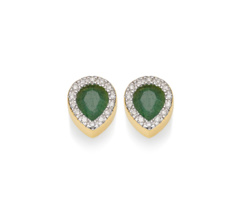 Gold Vermeil Naida Lotus Stud Earrings - Green Aventurine and Diamonds