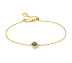 Gold Vermeil Naida Mini Circle Bracelet - Green Aventurine and Diamonds