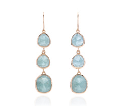 Rose Gold Vermeil Siren Wire Cocktail Earrings - Aquamarine