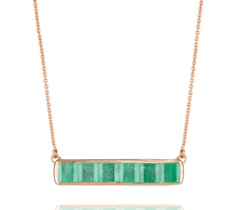Rose Gold Vermeil Baja Precious Necklace - Emerald