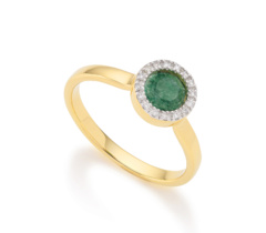 Gold Vermeil Naida Mini Circle Ring - Green Aventurine and Diamonds