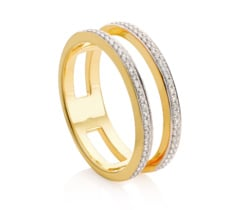 Gold Vermeil Skinny Diamond Double Band Ring