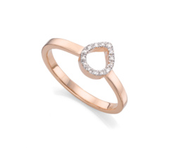 Rose Gold Vermeil Naida Mini Lotus Open Ring - Diamond