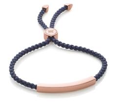 Rose Gold Vermeil Linear Friendship Bracelet - Navy Cord