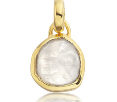 Gold Vermeil Siren Mini Bezel Pendant Charm - Moonstone - Monica Vinader