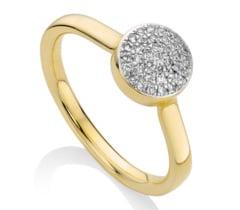 Gold Vermeil Ava Button Ring - Diamond