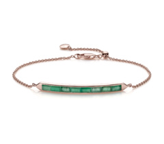 Rose Gold Vermeil Baja Precious Skinny Bracelet - Emerald