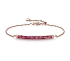 Rose Gold Vermeil Baja Precious Skinny Bracelet - Ruby