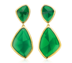 Gold Vermeil Siren Cocktail Earrings - Green Onyx