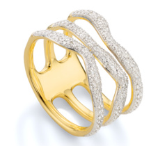 Gold Vermeil Riva Wave Triple band ring
