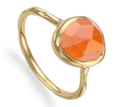 Gold Vermeil Siren Stacking Ring - Orange Carnelian