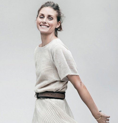 Olivia Palermo wears Monica Vinader Fiji Friendship bracelets in Nude and Navy to the StyleCaster shoot for their 50 Most Stylish New Yorkers feature.