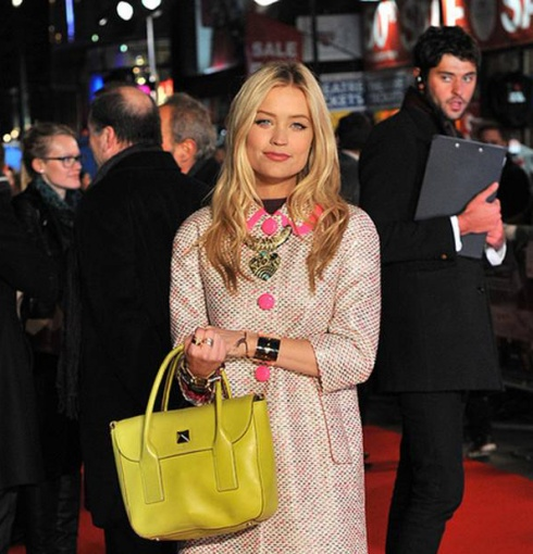Laura Whitmore wears Monica Vinader Fiji and Ava bracelets to the premiere of Flight, London 2012.