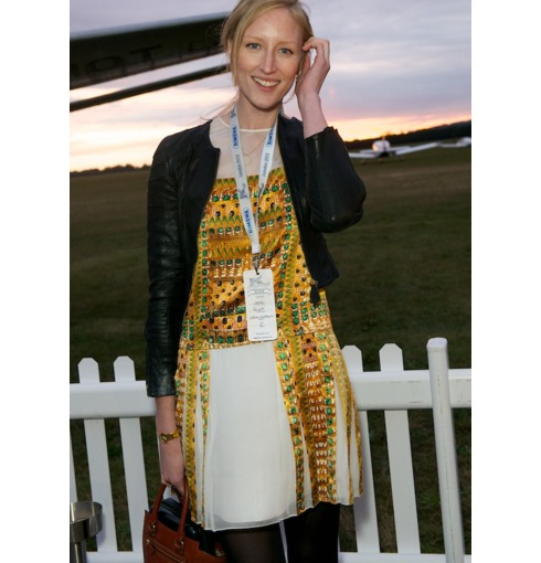 Jade Parfitt wears the Riva Cocktail Earrings and Cuff in Lemon Quartz to the Rimowa JU52 event, 2013.