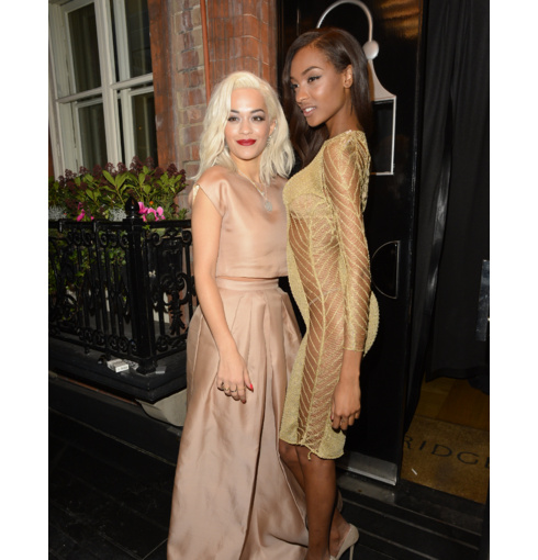 Rita Ora layers Monica Vinader Large Ava Diamond Pave Pendant with the Small Ava Diamond Pave Pendant and Diamond Siren stacking rings for the Harper's Bazaar Women of the Year Awards, 2013.