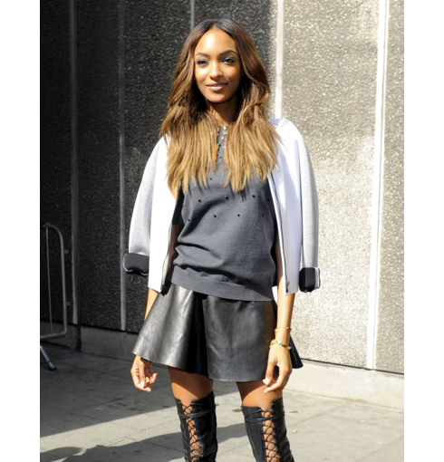 Jourdan Dunn wears the Monica Vinader Fiji Diamond Pave Chain Friendship Bracelet and Baja Chain Bracelet to the 2014 Vogue Festival in London.