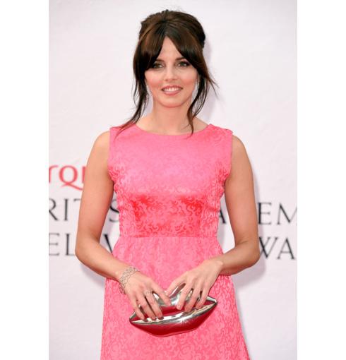 Ophelia Lovibond wears Monica Vinader Riva Diamond Hoop Ring,  Diamond Cluster Earrings and Diamond Cuff to the 2014 BAFTA Television Awards.