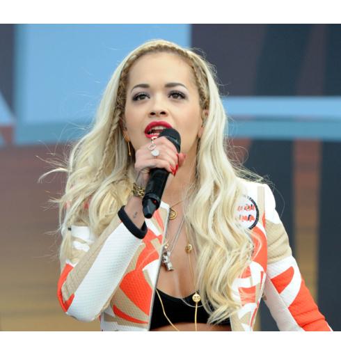 Rita Ora wears Monica Vinader Alma, Riva and Ava diamond rings in London.