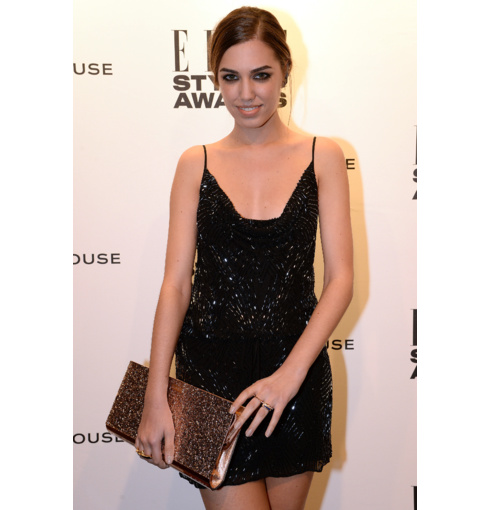 Amber le Bon wears Monica Vinader Baja and Skinny rings to the Elle Style Awards, 2014.