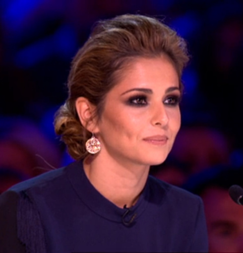 Cheryl Cole wears Monica Vinader Atlantis earrings in Rose Gold on ITV's X Factor.
