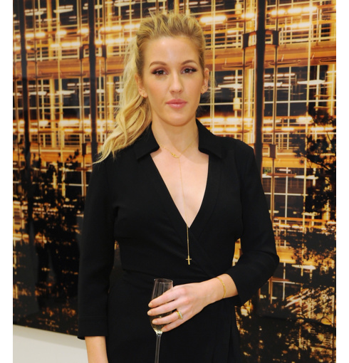 Ellie Goulding wears Monica Vinader Baja Diamond ring to the launch of Diane von Furstenberg: Journey Of A Dress exhibition in London.