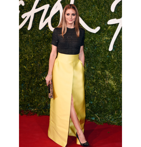 Olivia Palermo wears Monica Vinader Riva Diamond Cluster Cuff and Baja collections to the 2014 British Fashion Awards in London.