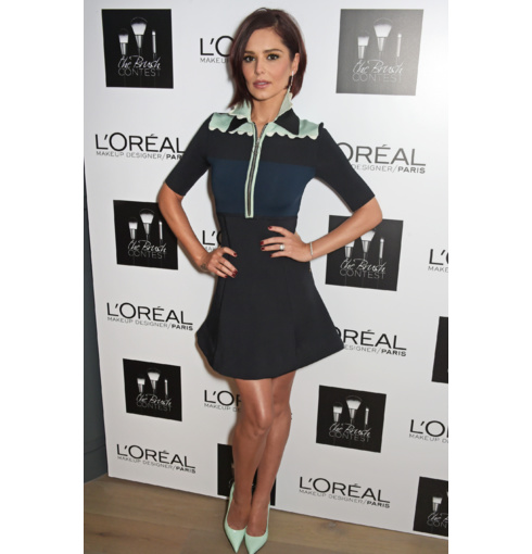 Cheryl Fernandez-Versini in Wearing Monica Vinader Skinny and Esencia bracelets and earrings at the L'Oreal Paris 'Brush Contest' in London.