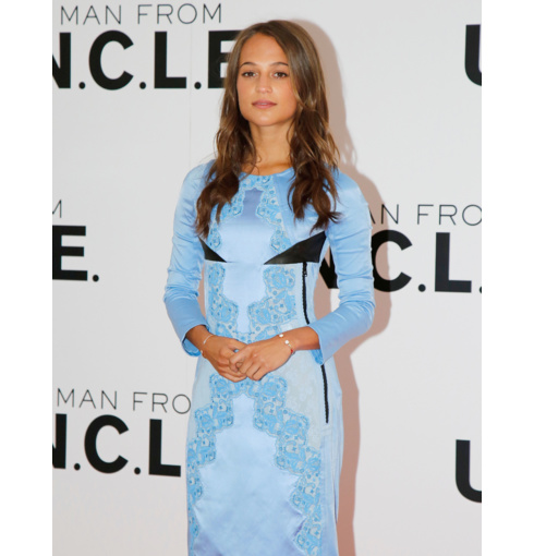 Alicia Vikander wears Atlantis and Diva Thin Cuffs to The Man from U.N.C.L.E. Press call in London, July 2015.