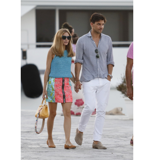 Johannes Huebl wears Mens Havana Bracelet in Denim Blue whilst out with Olivia Palermo